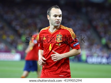 KYIV, UKRAINE - JULY 1, 2012: Portrait of Andres Iniesta of Spain during UEFA EURO 2012 Final game against Italy at Olympic stadium in Kyiv, Ukraine - stock photo