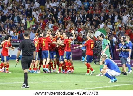 KYIV, UKRAINE - JULY 1, 2012: Spain national football team celebrates their winning of the UEFA EURO 2012 Championship after the final game against Italy at NSC Olympic stadium in Kyiv, Ukraine