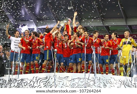 KYIV, UKRAINE - JULY 1: Spain national football team celebrates their winning of the UEFA EURO 2012 Championship after the game against Italy at NSC Olympic stadium on July 1, 2012 in Kyiv, Ukraine - stock photo