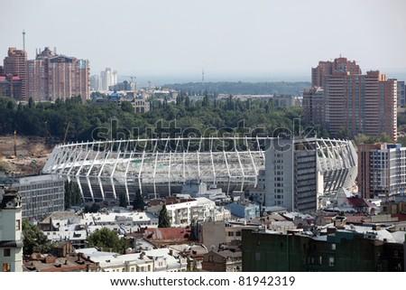 KYIV, UKRAINE - JULY 29: The Olympic Stadium Under Construction Ready For The UEFA EURO 2012. July 29, 2011, Kyiv, Ukraine - stock photo