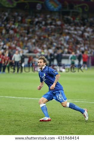 KYIV, UKRAINE - JUNE 24, 2012: Alessandro Diamanti of Italy reacts after scored a penalty kick during UEFA EURO 2012 Quarter-final game against England at Olympic stadium in Kyiv, Ukraine - stock photo