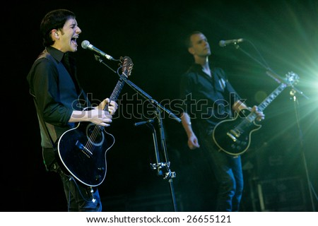 KYIV, UKRAINE - JUNE 3, 2007: Brian Molko, PLACEBO frontman, performs live in concert at Sport Palace, on June 6, 2007, in Kiyv, Ukraine.