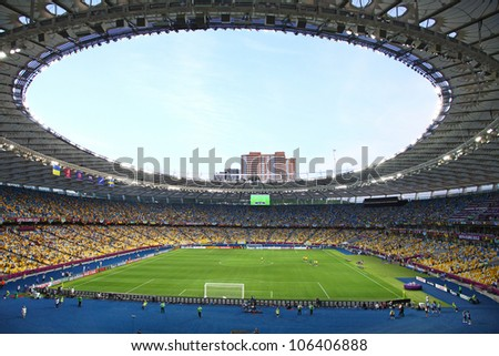KYIV, UKRAINE - JUNE 11: Panoramic view of Olympic stadium (NSC Olimpiysky) during UEFA EURO 2012 game between Ukraine and Sweden on June 11, 2012 in Kyiv, Ukraine - stock photo
