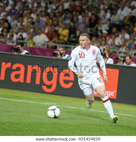 KYIV; UKRAINE - JUNE 24; 2012: Wayne Rooney of England controls a ball during UEFA EURO 2012 Quarter-final game against Italy at Olympic stadium in Kyiv; Ukraine - stock photo