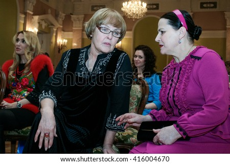 "Kyiv, Ukraine - March 6, 2010: Ada Rogovtseva (L) and  Nina Matviyenko (R) during the presentation of the title ""Queen of success 2010"""