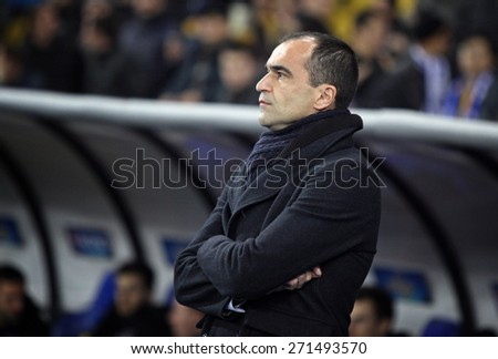 KYIV, UKRAINE - MARCH 19, 2015: FC Everton manager Roberto Marti­nez looks on during UEFA Europa League game against FC Dynamo Kyiv at Olympic stadium in Kyiv - stock photo