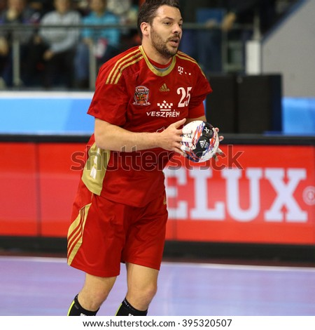 KYIV, UKRAINE - MARCH 19, 2016: Jose Maria Rodriguez Vaquero of MVM Veszprem in action during the 2015/16 VELUX EHF Champions League Last 16 Handball game against HC Motor at Ice Terminal Brovary