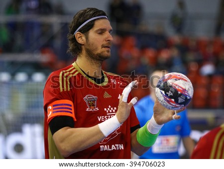 KYIV, UKRAINE - MARCH 19, 2016: Laszlo Nagy of MVM Veszprem in action during the 2015/16 VELUX EHF Champions League Last 16 Handball game against HC Motor at Ice Terminal Brovary in Kyiv, Ukraine