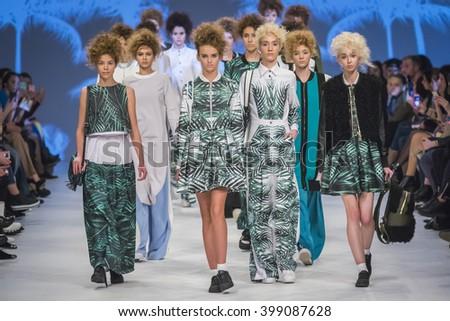KYIV, UKRAINE - MARCH 21, 2016: Models walk on the catwalk during Fashion Show by Yana Belyaeva as part of 38th Ukrainian Fashion Week at Mystetskyi Arsenal in Kyiv, Ukraine - stock photo