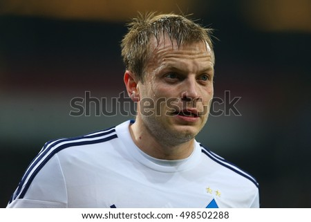 KYIV, UKRAINE - MARCH 19, 2015: Oleh Gusev close-up portrait, UEFA Europa League Round of 16 second leg match between Dynamo and Everton