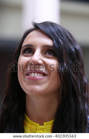 KYIV, UKRAINE - MARCH 9, 2016: Singer Jamala (who will represent Ukraine in Eurovision Song Contest 2016) smiles during presentation of the New jerseys of the National Football Team of Ukraine