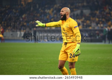 KYIV, UKRAINE - MARCH 19, 2015: Tim Howard of Everton during their UEFA Europe League game with Dynamo Kyiv at NSC Olimpiyskiy stadium on March 19, 2015 in Kyiv, Ukraine. - stock photo