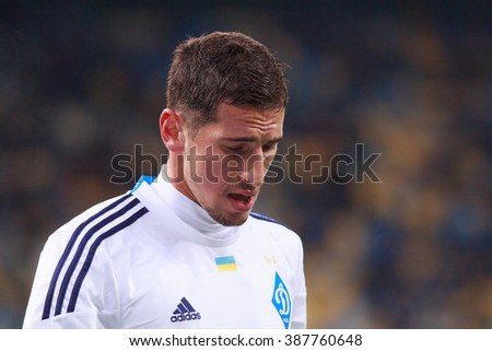 KYIV, UKRAINE - MARCH 5, 2016:  Ukrainian Football Premier League game. Dynamo Kyiv against Dnipro Dnipropetrovsk. Derlis Gonzalez of FC Dynamo Kyiv