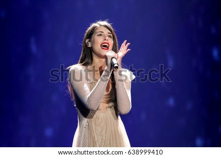 KYIV, UKRAINE - MAY 12, 2017: Demy the representative of Greece at ESC (EUROVISION) acts on the main stage during Grand Final Dress Rehearsal 1