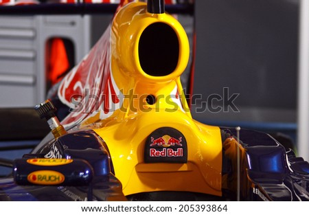 KYIV, UKRAINE - MAY 19, 2012: Details of Red Bull RB7 racing car during Red Bull Champions Parade on the streets of Kyiv city - stock photo