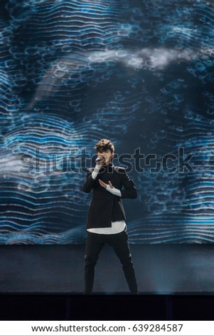 KYIV, UKRAINE - MAY 12, 2017: Kristian Kostov from Bulgaria at the grand final rehearsal during Eurovision Song Contest, in Kyiv, Ukraine