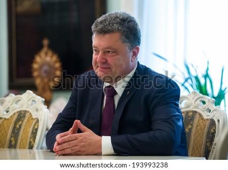 KYIV, UKRAINE - MAY 19, 2014: Most rating Ukrainian presidential candidate, ukrainian politician, businessman and millionaire Petro Poroshenko during a election meeting in Kyiv. - stock photo