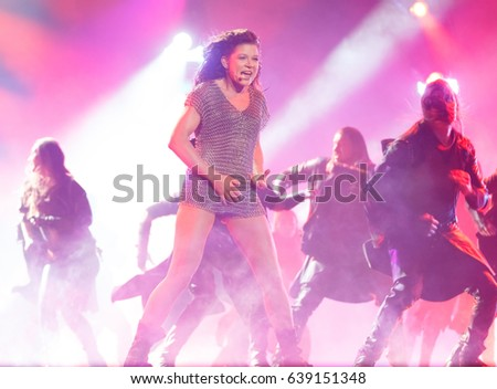 KYIV, UKRAINE - MAY 12, 2017: Ruslana of Ukraine at ESC (EUROVISION) Eurovision Song Contest 2017 during Final dress rehearsal