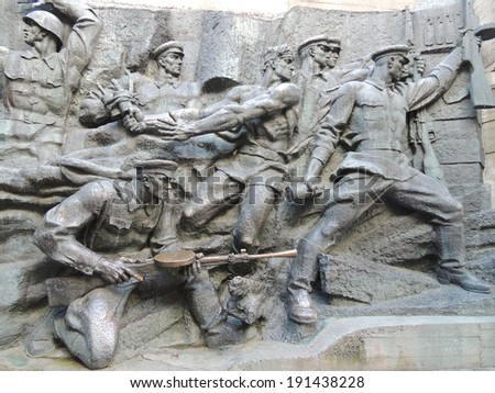 KYIV, UKRAINE - MAY 07, 2014: Sculptural compositions in the Kyiv's memorial complex �«The National Museum of the History of the Great Patriotic War of 1941-1945�».