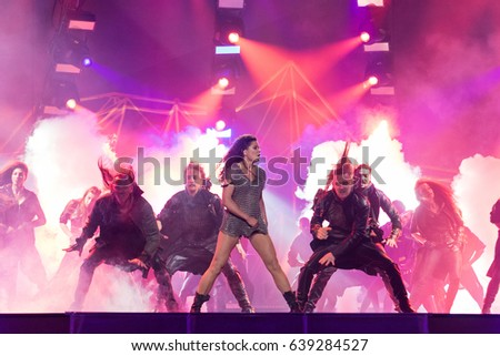KYIV, UKRAINE - MAY 12, 2017: The winner of ESC 2004 Ruslana at the grand final rehearsal during Eurovision Song Contest, in Kyiv, Ukraine