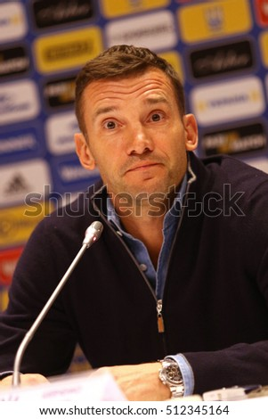 KYIV, UKRAINE - NOVEMBER 8, 2016: Ukraine National Football Team manager Andriy Shevchenko attends press-conference before Open Training Session at NSC Olimpiyskyi stadium in Kyiv, Ukraine