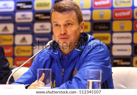 KYIV, UKRAINE - NOVEMBER 8, 2016: Ukraine National Football Team player Ruslan Rotan attends press-conference before Open Training Session at NSC Olimpiyskyi stadium in Kyiv, Ukraine
