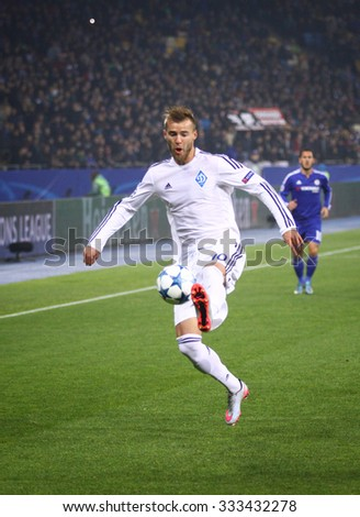 KYIV, UKRAINE - OCTOBER 20, 2015: Andriy Yarmolenko of FC Dynamo Kyiv controls a ball during UEFA Champions League game against Chelsea at NSC Olimpiyskyi stadium in Kyiv - stock photo