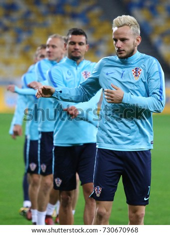 KYIV, UKRAINE - OCTOBER 8, 2017: Croatian players run during Training session before FIFA World Cup 2018 qualifying game against Ukraine at NSC Olimpiyskyi stadium in Kyiv, Ukraine