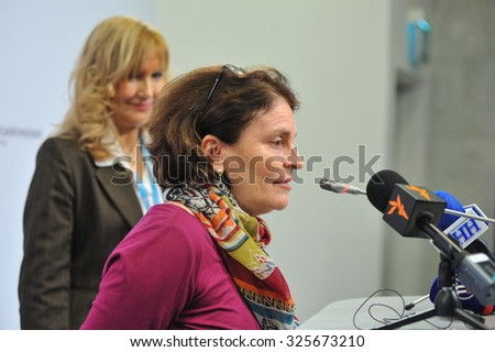 KYIV, UKRAINE - OCTOBER 9, 2015: Giovanna Barberis - UNICEF Representative in Ukraine - speaking about the plans of action to eliminate the polio outbreak in Ukraine
