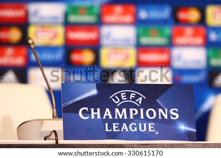 KYIV, UKRAINE - OCTOBER 19, 2015: Press Room details seen during press-conference before UEFA Champions League game FC Dynamo Kyiv vs FC Chelsea at NSC Olimpiyskyi stadium