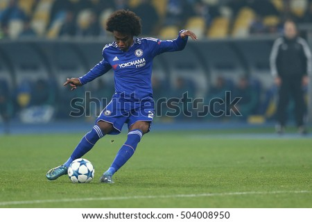 KYIV, UKRAINE - OCTOBER 20, 2015: Willian shoots free kick, UEFA Chamions League Group Stage match between Dynamo Kyiv and Chelsea