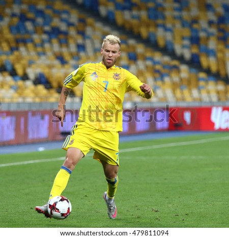 KYIV, UKRAINE - SEPTEMBER 5, 2016: Andriy Yarmolenko of Ukraine controls a ball during FIFA World Cup 2018 qualifying game against Iceland at NSC Olympic stadium in Kyiv, Ukraine