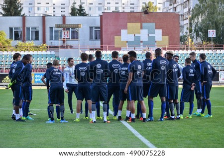 KyiV, UKRAINE - September 2, 2016: Footballers youth team of France U21 come out on the field during the qualifying round UEFA Euro-2017 between Ukraine U21 vs France U21, 2 September 2016, Ukraine