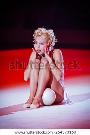 KYIV, UKRAINE - SEPTEMBER 1, 2013: Natalia Godunko, former Ukrainian gymnast performs during Gala concert at 32nd Rhythmic Gymnastics World Championship in Kyiv - stock photo