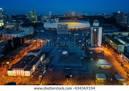 KYIV, UKRAINE - SEPTEMBER 15: Panoramic night view of Olympic stadium (NSC Olimpiysky) during from the top on September11, 2015 in Kyiv, Ukraine - stock photo