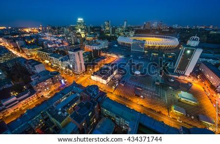 KYIV, UKRAINE - SEPTEMBER 15: Panoramic view of Olympic stadium (NSC Olimpiysky) on September11, 2015 in Kyiv, Ukraine - stock photo