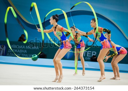 KYIV, UKRAINE - SEPTEMBER 1, 2013: Team of China performs during 32nd Rhythmic Gymnastics World Championship (Group Apparatus Final competition) at Palace of Sports in Kyiv - stock photo