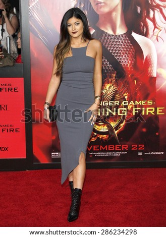"Kylie Jenner at the Los Angeles premiere of ""The Hunger Games: Catching Fire"" held at the Nokia Theatre L.A. Live in Los Angeles on November 18, 2013. - stock photo"