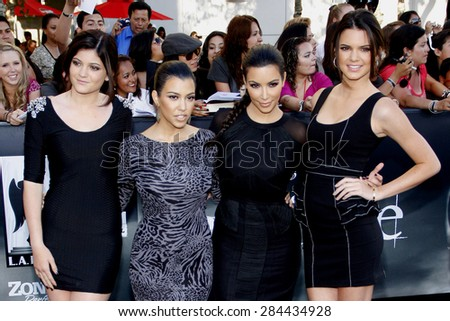 Kylie Jenner, Kourtney Kardashian, Kim Kardashian and Kendall Jenner at the Los Angeles premiere of 'The Twilight Saga: Eclipse' held at the Nokia Theatre L.A. Live in Los Angeles on June 24, 2010.  - stock photo