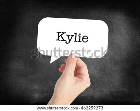 Kylie written in a speechbubble