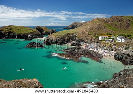 Kynance Cove on the Lizard Peninsula, Cornwall in England, UK