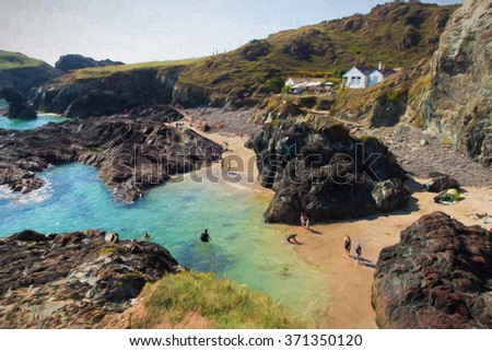 Kynance Cove The Lizard Cornwall England UK with people enjoying the summer sunshine swimming and on the beautiful beach illustration like oil painting