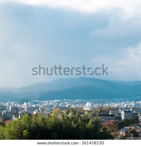 Kyoto cityscape with mountain background from Ginkaku-j viewpoint