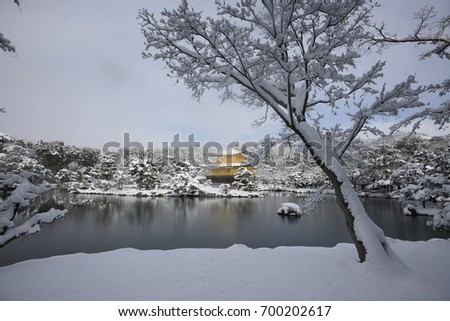 Kyoto Golden Temple with snow