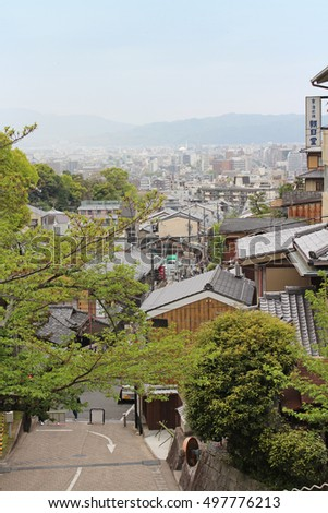 Kyoto, Japan - April 18, 2016: View of Kyoto city from the Mt. Otowa which is near the Kiyomizu-dera in a cloudy day