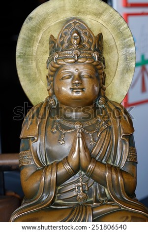 KYOTO,JAPAN -DECEMBER 30, 2014 : Bodhisattva statues at a temple in Kyoto, Japan on DECEMBER 30, 2014.The statue, known in Japan as Kanon