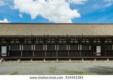 KYOTO, JAPAN - JULY 13, 2015: Main Hall of Sanjusangendo Buddhist Temple in Kyoto.