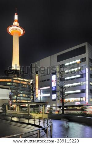 KYOTO,JAPAN-NOVEMBER 9, 2014 Kyoto Tower in the citycenter at night.November 9, 2014 Kyoto, Japan - stock photo