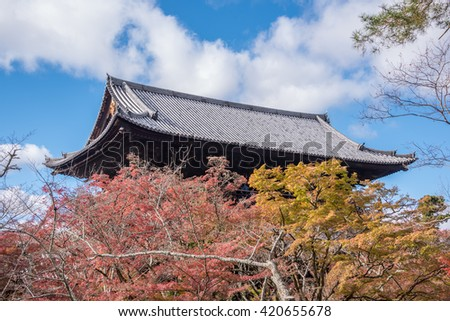 Kyoto, Japan - November 27, 2015 : T he Sanmon gate at Nanzenji Temple in autumn at Kyoto,Japan. This Sanmon gate was constructed in 1628 for soldiers who died in the siege of Osaka Castle in 1615.