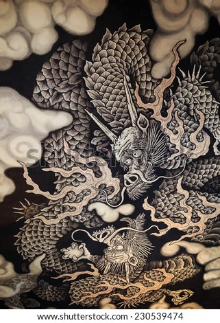 Kyoto, Japan - October 20 2014: Twin Dragons painting on the ceiling of the main hall commemorates the 800-year anniversary of Kennin-ji temple founding - stock photo